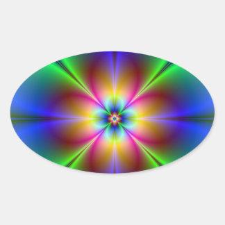 Marguerite au néon colorée sticker ovale