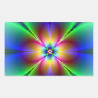 Marguerite au néon colorée sticker rectangulaire