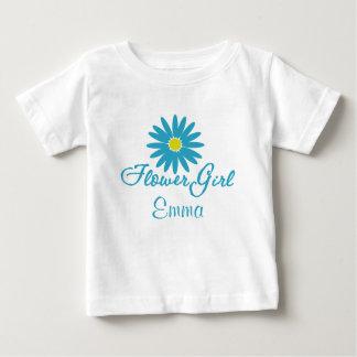 Marguerite bleue de fille de fleur t-shirt pour bébé