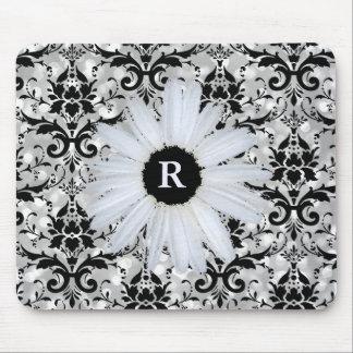 Marguerite décorée d'un monogramme noire argentée tapis de souris