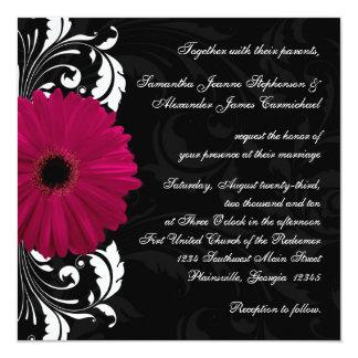 Marguerite fuchsia de Gerbera de rouleau avec noir Carton D'invitation 13,33 Cm