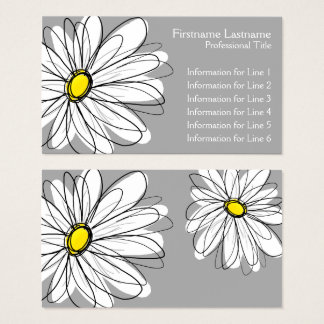 Marguerite lunatique - gris jaune cartes de visite