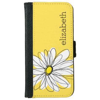 Marguerite lunatique jaune et blanche avec le coque avec portefeuille pour iPhone 6