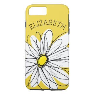 Marguerite lunatique jaune et blanche avec le coque iPhone 7 plus