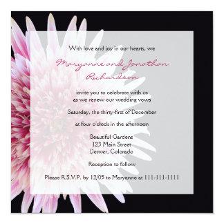Marguerite rose de renouvellement de voeu et carton d'invitation  13,33 cm
