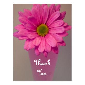 Marguerite rose en carte postale de note de Merci