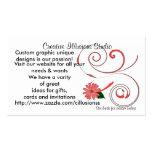Marguerite rouge avec le carte de visite de remous