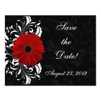 Marguerite rouge et noire et blanche de Gerbera de Carton D'invitation 10,79 Cm X 13,97 Cm