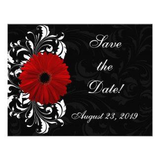 Marguerite rouge et noire et blanche de Gerbera de Invitations Personnalisées