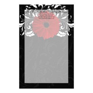 Marguerite rouge et noire et blanche de Gerbera de Papier À Lettre Customisé