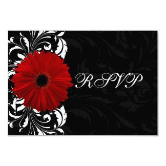 Marguerite rouge et noire et blanche RSVP de Faire-part Personnalisables