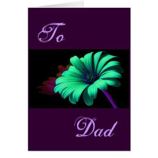 Marguerite vert-bleu de fête des pères heureuse I Carte De Vœux