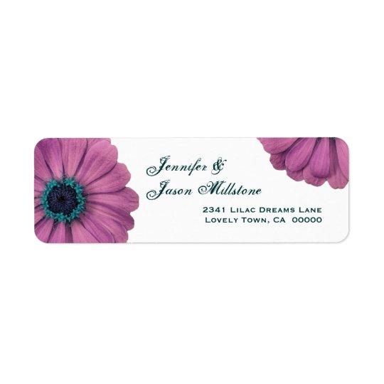 Marguerites assez roses étiquette d'adresse retour
