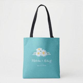 Marguerites blanches florales élégantes épousant sac