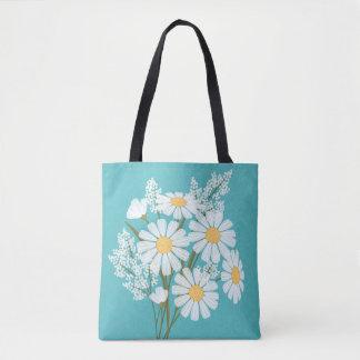 Marguerites blanches florales élégantes sur Teal Sac