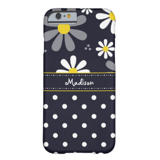 Marguerites Girly et pois de mod avec le nom Coque Barely There iPhone 6