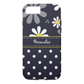 Marguerites Girly et pois de mod avec le nom Coque iPhone 7