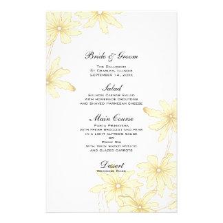 Marguerites jaunes épousant le menu papiers à lettres