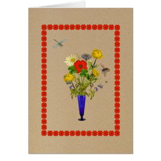 Marguerites, pavots, bleuets, bouquet de carte de vœux