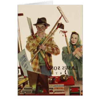 Mari vintage et épouse avec des outils de carte de vœux