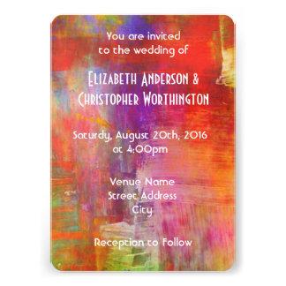 Mariage abstrait audacieux coloré de peinture carton d'invitation  12,7 cm x 17,78 cm