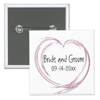 Mariage abstrait rose de coeur badge carré 5 cm