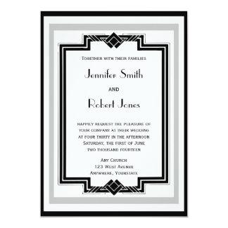 Mariage argenté blanc noir de cadre d'art déco carton d'invitation  12,7 cm x 17,78 cm