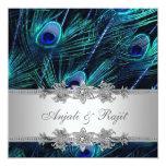 Mariage argenté de paon de bleu royal carton d'invitation  13,33 cm