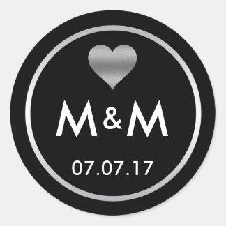 Mariage argenté noir élégant personnalisé de coeur sticker rond