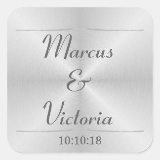 Mariage balayé moderne en métal sticker carré