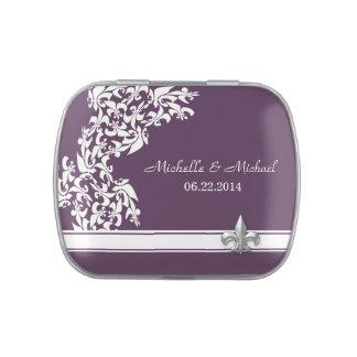 Mariage blanc de Purple Fleur de Lis Pattern Boites De Bonbons Jelly Belly