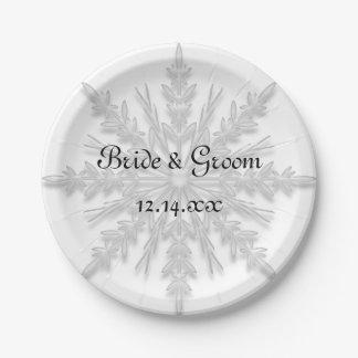 Mariage blanc d'hiver de flocon de neige assiettes en papier