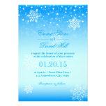 Mariage bleu congelé élégant de flocons de neige cartons d'invitation personnalisés