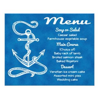Mariage bleu d'aquarelle de menu d'ancre nautique prospectus 11,4 cm x 14,2 cm