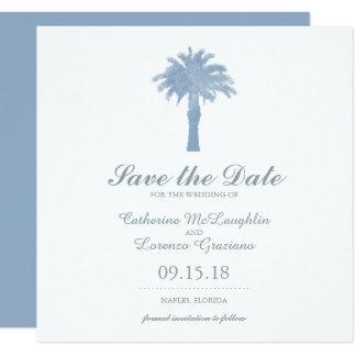 Mariage bleu d'aquarelle de palmier d'hortensia carton d'invitation  13,33 cm