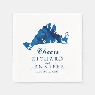 Mariage bleu de carte de Martha's Vineyard Serviette En Papier