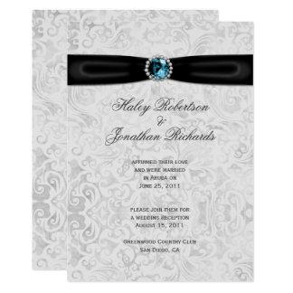 Mariage bleu de courrier de bijou de damassé de carton d'invitation  12,7 cm x 17,78 cm