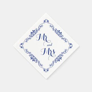 Mariage bleu de typographie de frontière serviette jetable