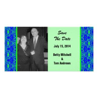Mariage bleu lumineux de motif de vert de chaux modèle pour photocarte