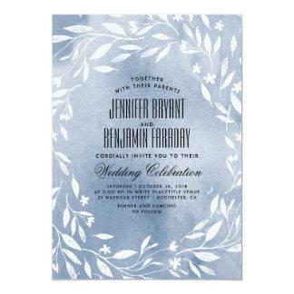 Mariage bleu poussiéreux de jardin de fleurs carton d'invitation  12,7 cm x 17,78 cm