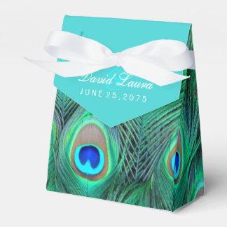 Mariage bleu turquoise de paon ballotin pour dragées