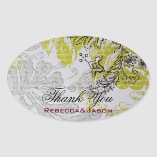 mariage botanique floral de ressort vintage sticker ovale