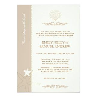 Mariage bronzage beige de n par le rivage carton d'invitation  12,7 cm x 17,78 cm