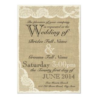 Mariage campagnard blanc antique de dentelle carton d'invitation  12,7 cm x 17,78 cm