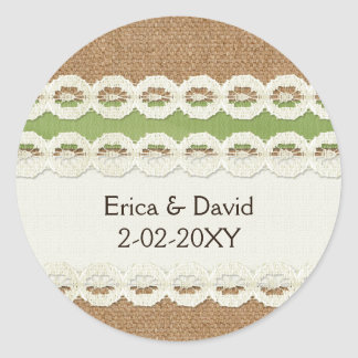 Mariage campagnard de toile de jute de FAUX et de Sticker Rond