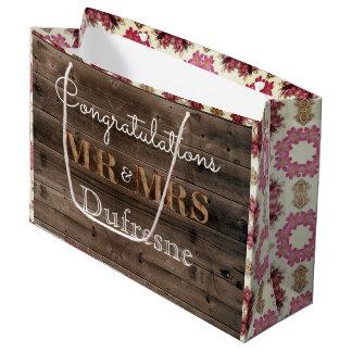 Mariage campagnard floral rustique et vintage grand sac cadeau