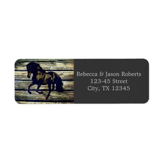 mariage campagnard occidental de chevaux vintages  étiquettes d'adresse retour