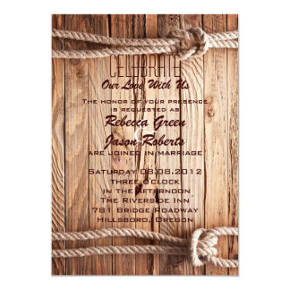 mariage campagnard occidental de cowboy en bois de carton d'invitation  12,7 cm x 17,78 cm
