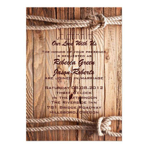 mariage campagnard occidental de cowboy en bois de bristol personnalisé