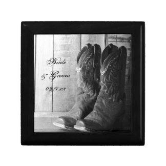 Mariage campagnard rustique de bottes de cowboy petite boîte à bijoux carrée